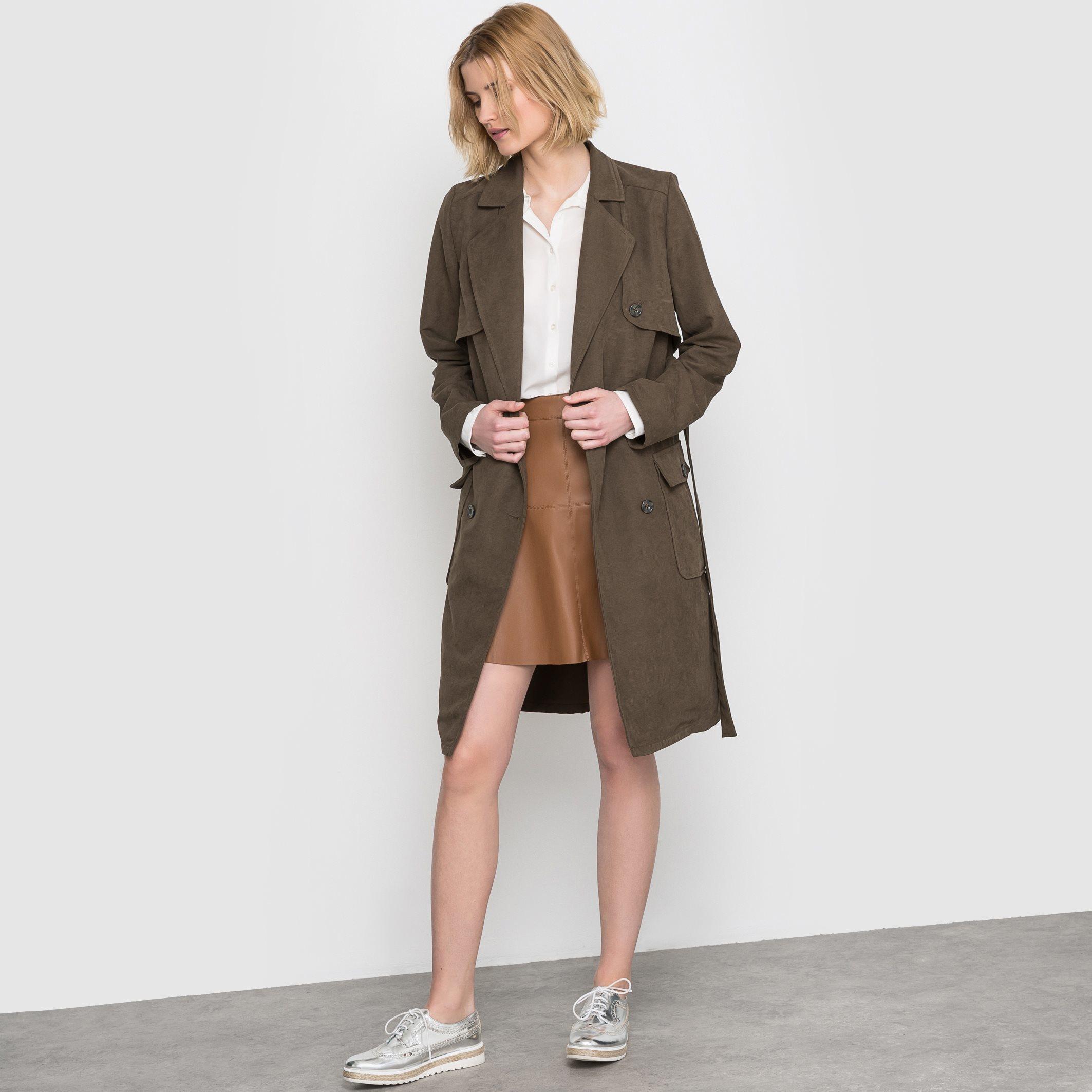 vila vihowever faux leather skirt in brown lyst