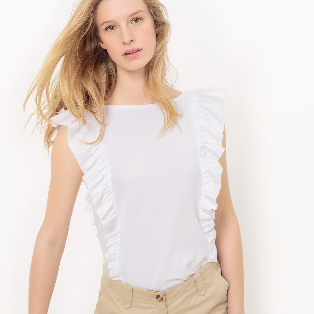 La redoute Tee Shirt Col Rond, Uni in White