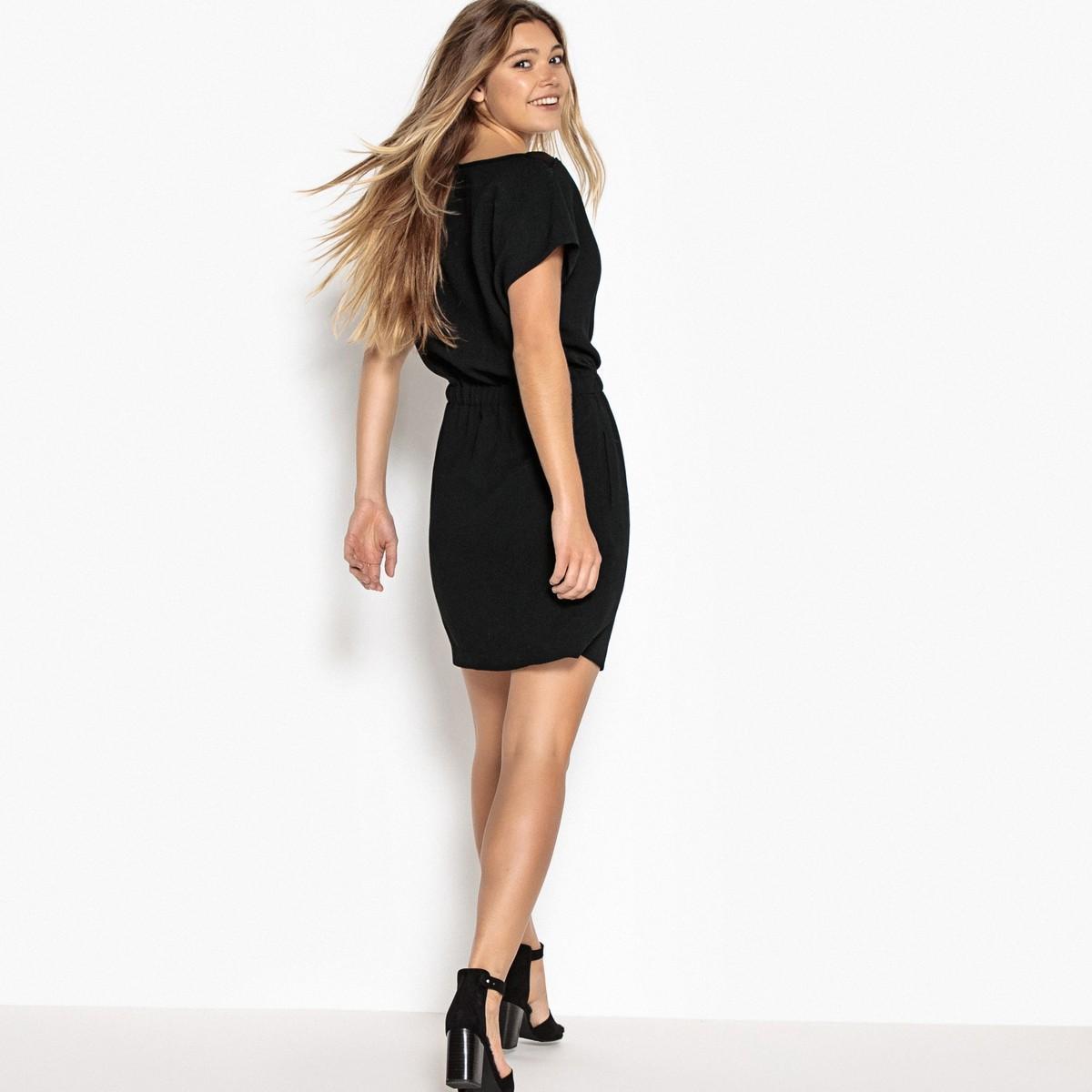 la redoute robe unie lastiqu e taille in black lyst. Black Bedroom Furniture Sets. Home Design Ideas