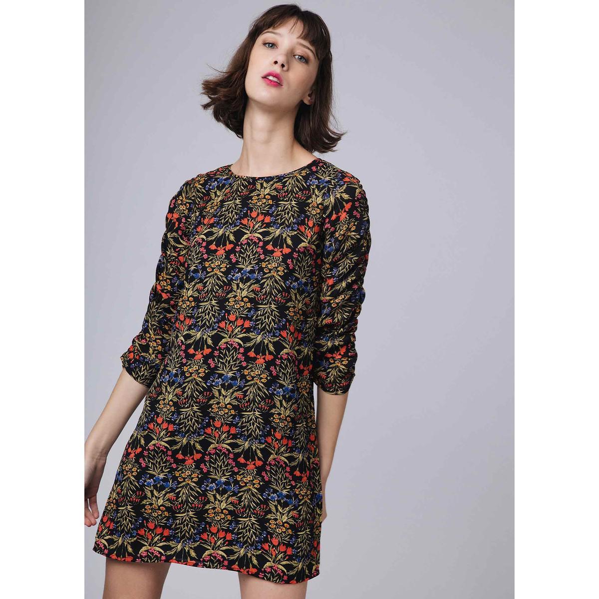 333b4e767d Compañía Fantástica. Women s Black Short Floral Print Straight Dress ...