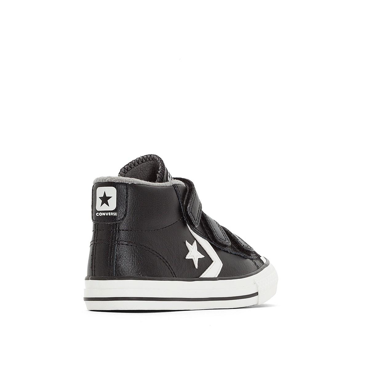 Lyst - Converse Star Player 3v Mid Leather Mid Top Trainers in Black ... edf42b55b