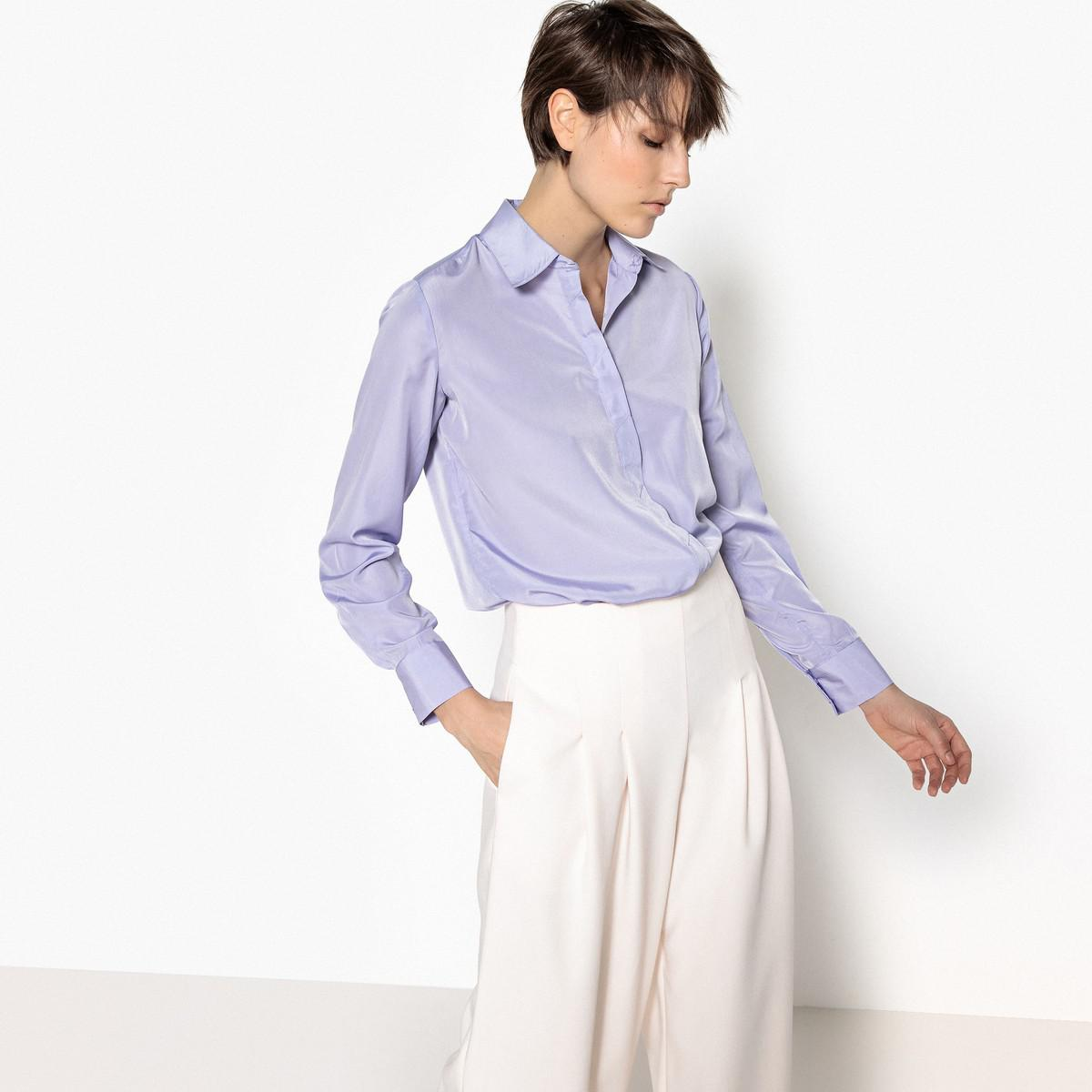408f50bcad Lyst - La Redoute Satin Look Shirt With Concealed Buttoned Placket ...