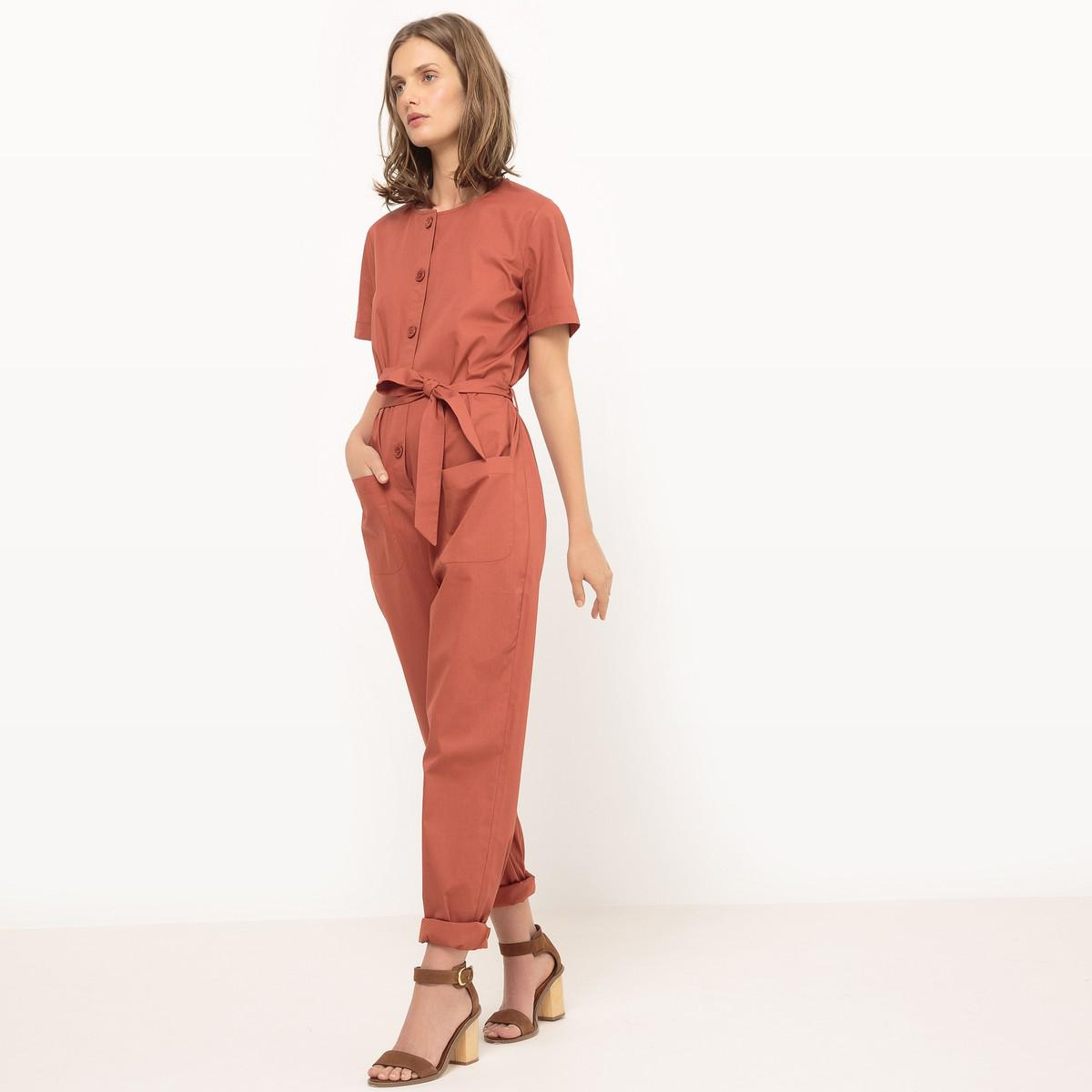 942ef0dca3a4 Lyst - La Redoute Plain Jumpsuit With Belt in Red