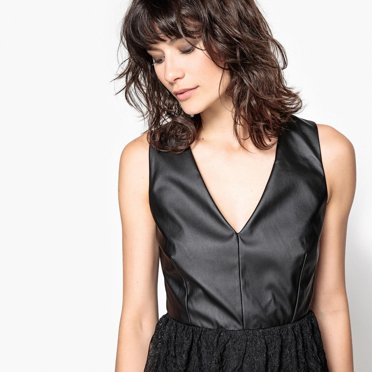 cef8dd5f75 LA REDOUTE - Black Sleeveless Plain Midi Skater Dress - Lyst. View  fullscreen
