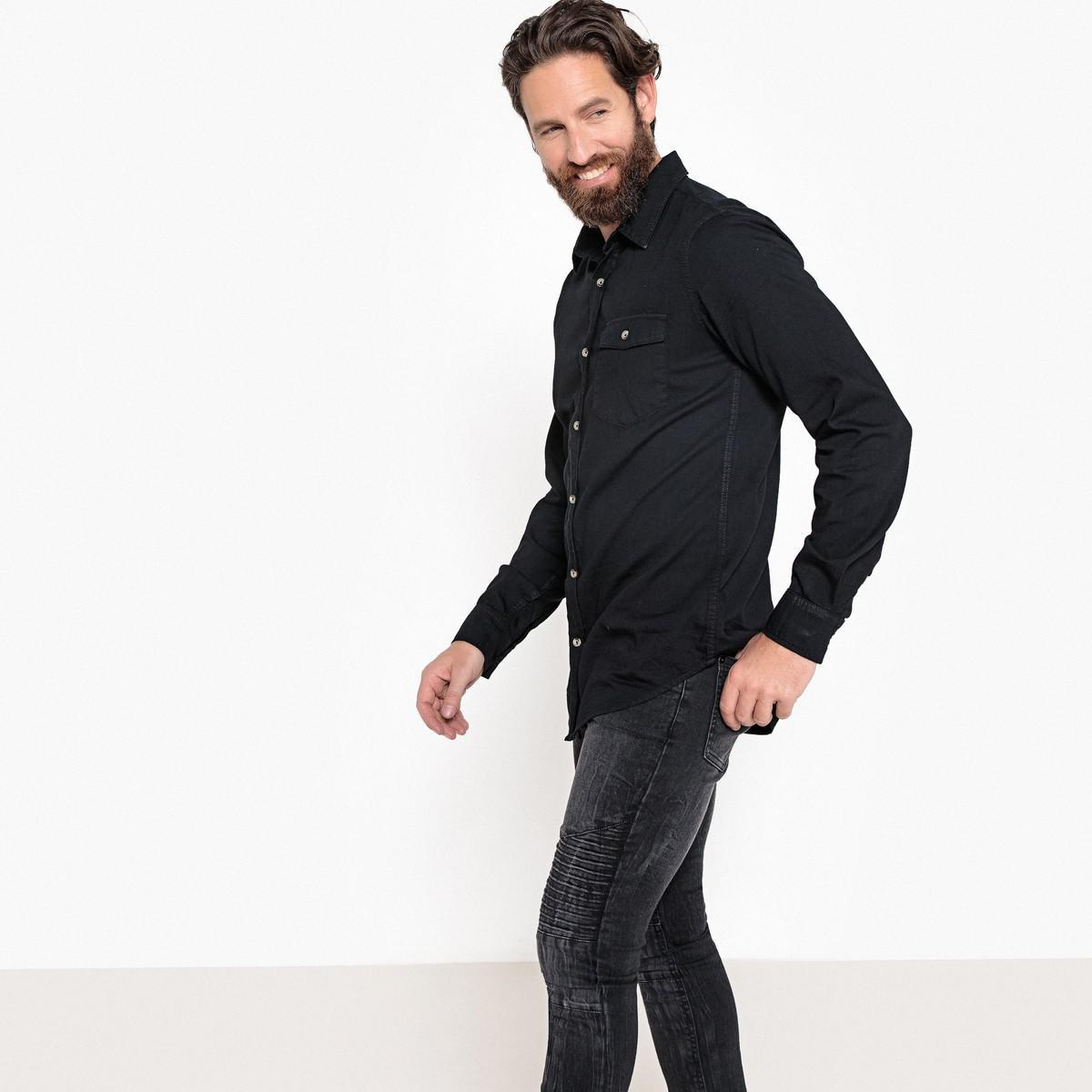 fe70a090ef Lyst - La Redoute Long-sleeved Straight Cut Shirt in Black for Men