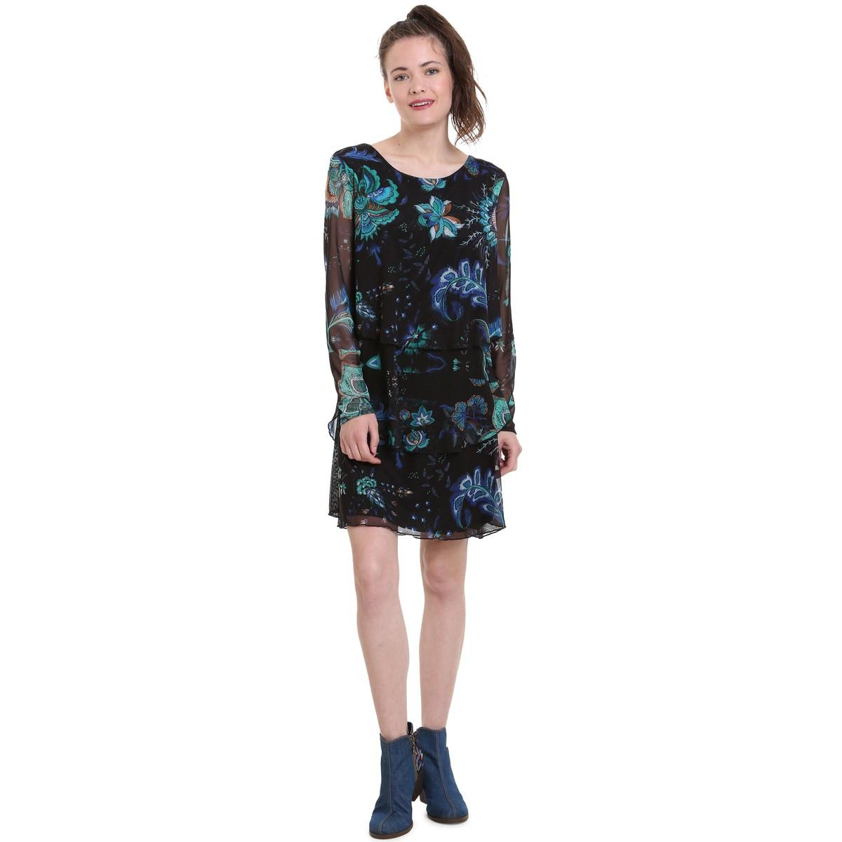 d96b64003bcd Vestido corto de gasa con estampado de flores, cor de mujer de color negro