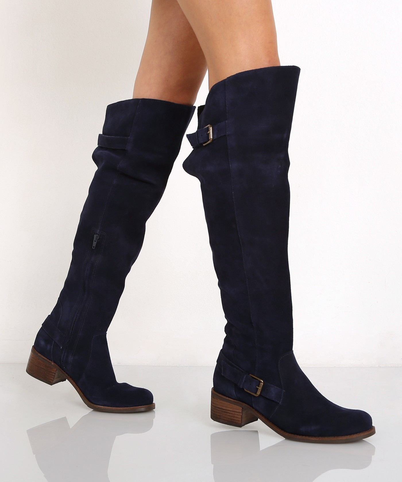 matisse finnley the knee boot blue suede in blue lyst