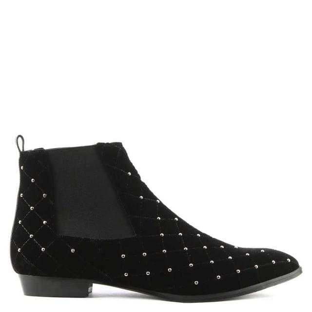 Phio Myo Black Velvet Studded Embellished Chelsea Boot