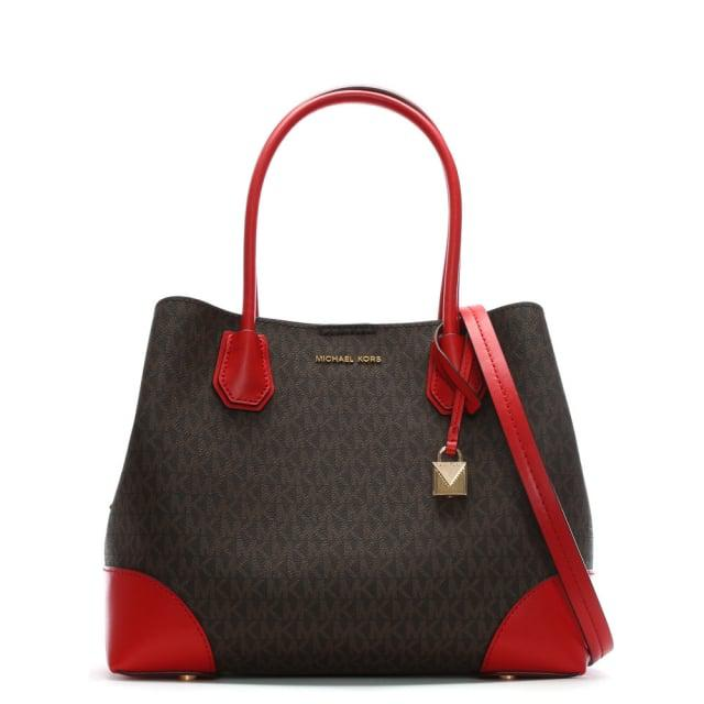 Michael Kors Annie Medium Brown & Bright Red Coated Canvas Logo Tote B