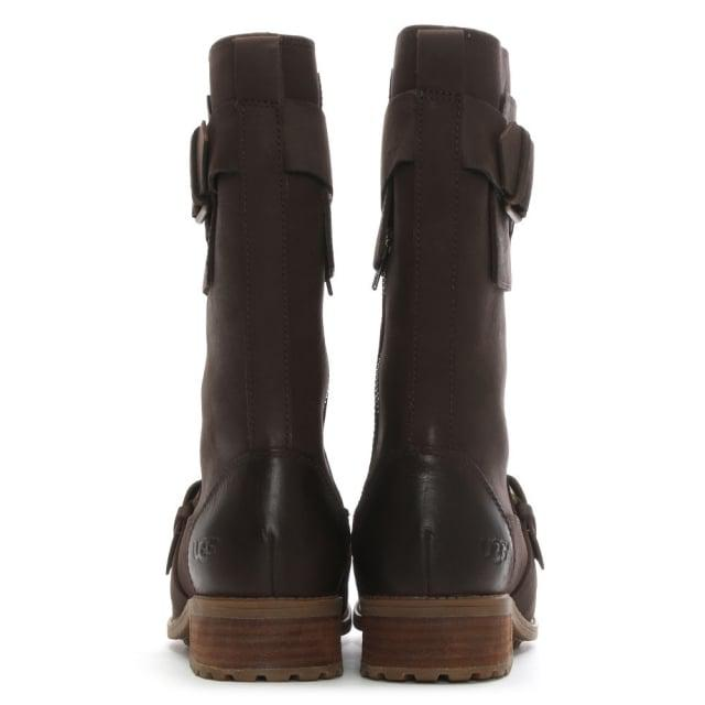 UGG Australia Chancey Brown Leather & Other High Leg Boots - Save 9%