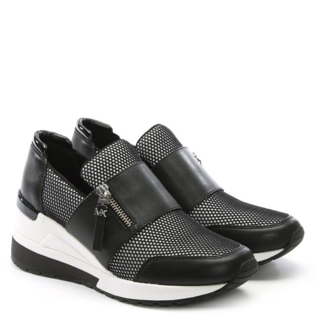Michael Kors Chelsie White Leather Wedge Trainers in Black