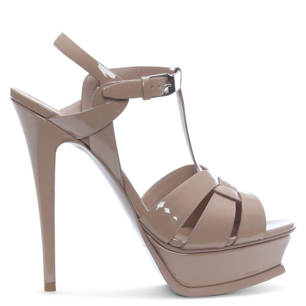Ralph Lauren Arissa Patent Leather Sandal in Nude (Natural