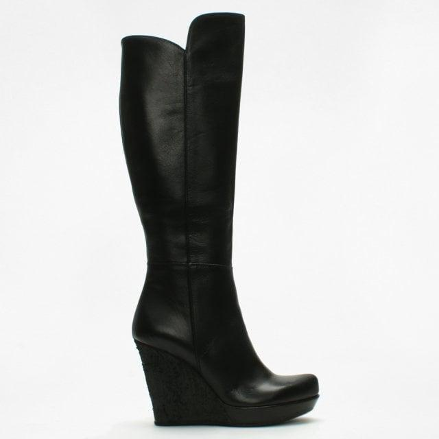 Black Leather Knee High Wedge Boots