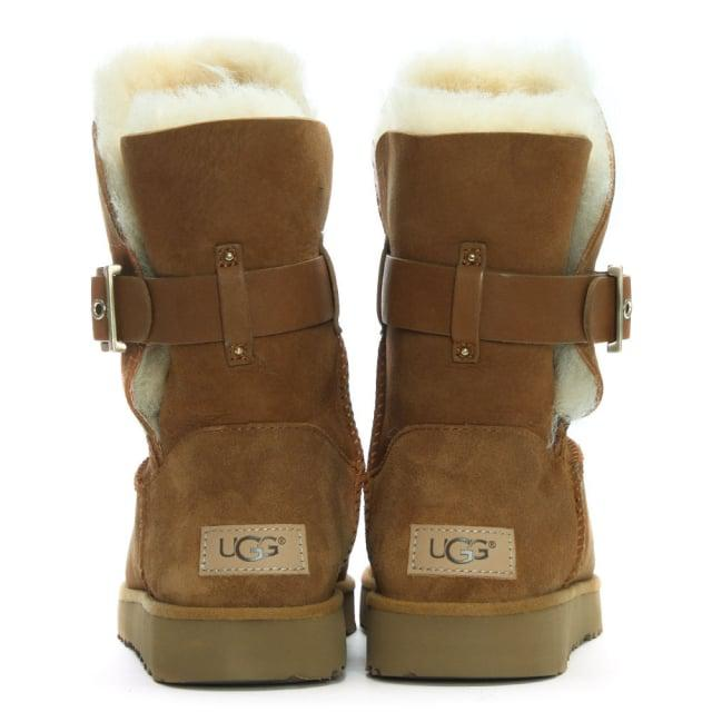 0ebc2f20608 Ugg Brown Jaylyn Chestnut Suede Buckle Twinface Ankle Boots