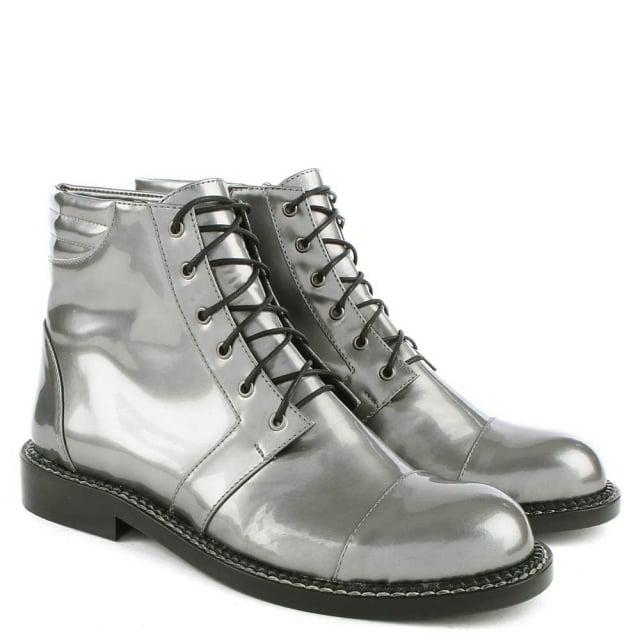 Phio Myo Leon Patent Silver Leather Lace Up Ankle Boot in Metallic