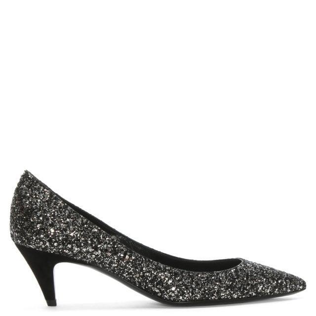 Tara 55 Black Glitter Kitten Heel Pumps
