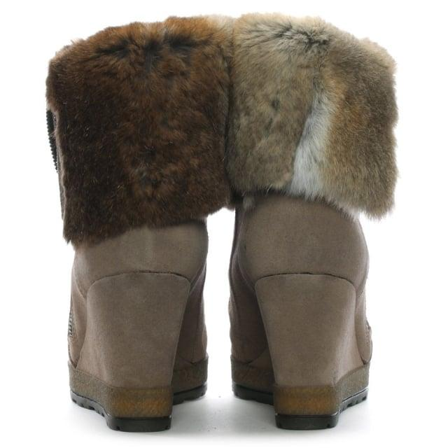 Daniel Grateful Taupe Suede Fur Cuff Wedge Ankle Boots