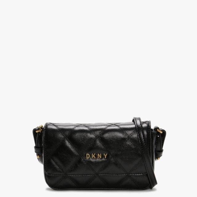 Quilted Black Leather Cross Body Bag