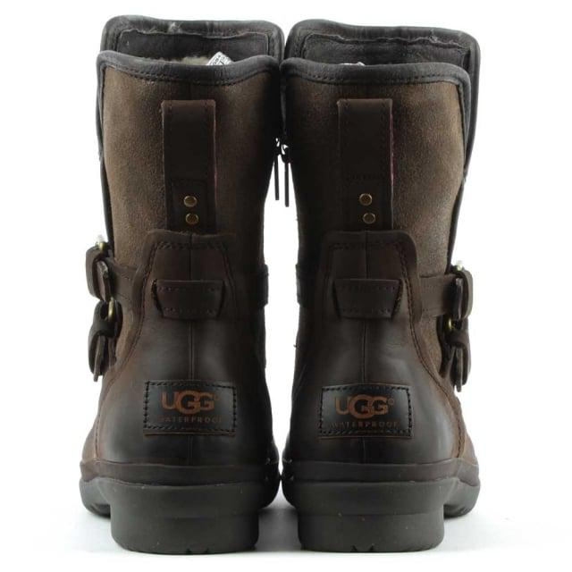 UGG Ugg Australia Simmens Stout Leather Strap & Buckle Boot in Brown Leather (Brown)
