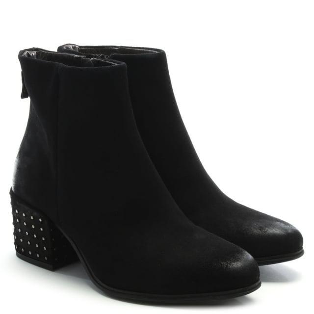 Daniel Moorish Black Suede Studded Block Heel Ankle Boots