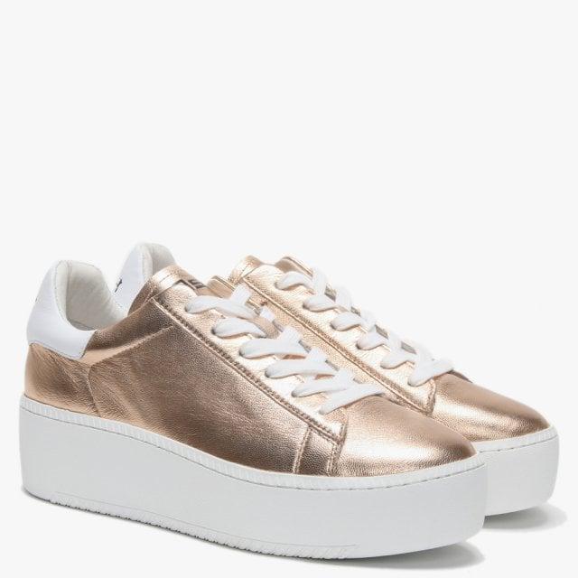 2fc993c1a63 Ash - Pink Cult Rose Gold Leather White Fl Flatform Trainers - Lyst. View  fullscreen