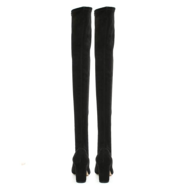 Bionda Castana Chriselle Black Suede Over The Knee Cage Heel Boot Colo