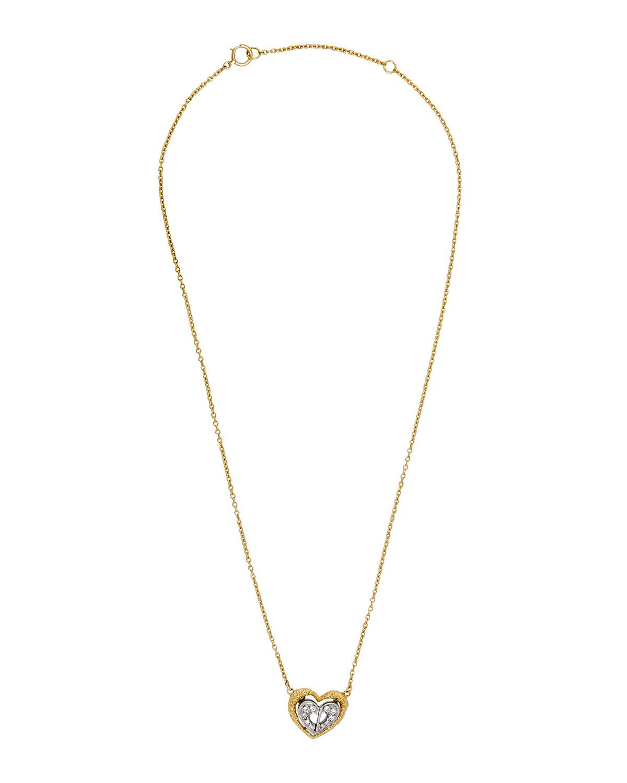 25cf3e7efe2 Dior Metallic Estate 18k Two-tone Pave Diamond Heart Pendant Necklace