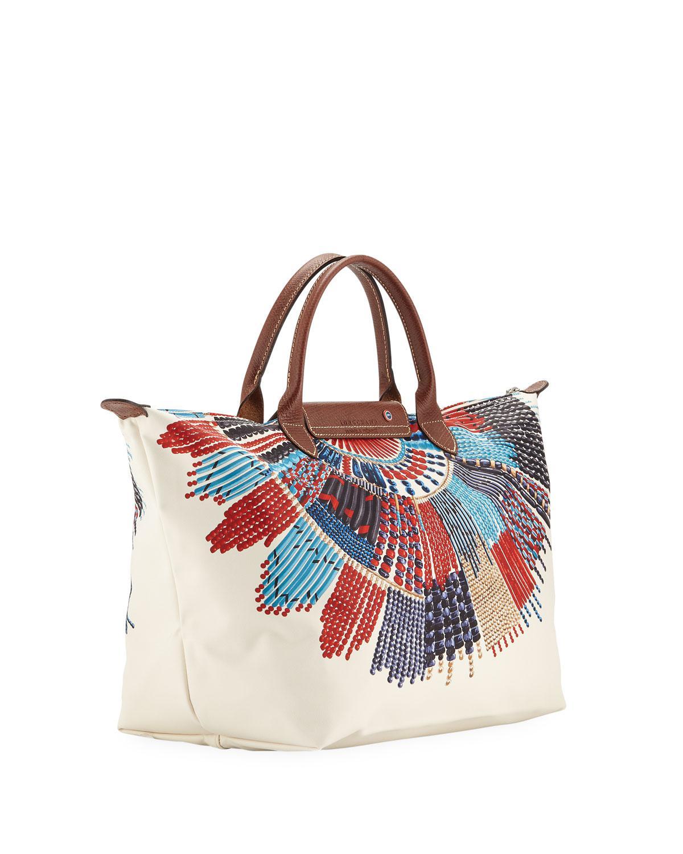 bd4bfc06b062 Longchamp - Multicolor Le Pliage Collier Massai Medium Top Handle Bag -  Lyst. View fullscreen