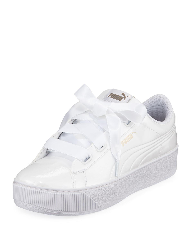 fdcea5f5875 PUMA Vikky Ribbon Platform Sneakers in White - Lyst