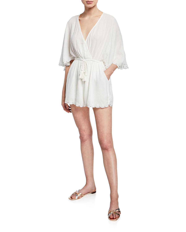 e880eddcaff Lyst - Lost + Wander Magnolia Faux-wrap 3 4-sleeves Romper in White