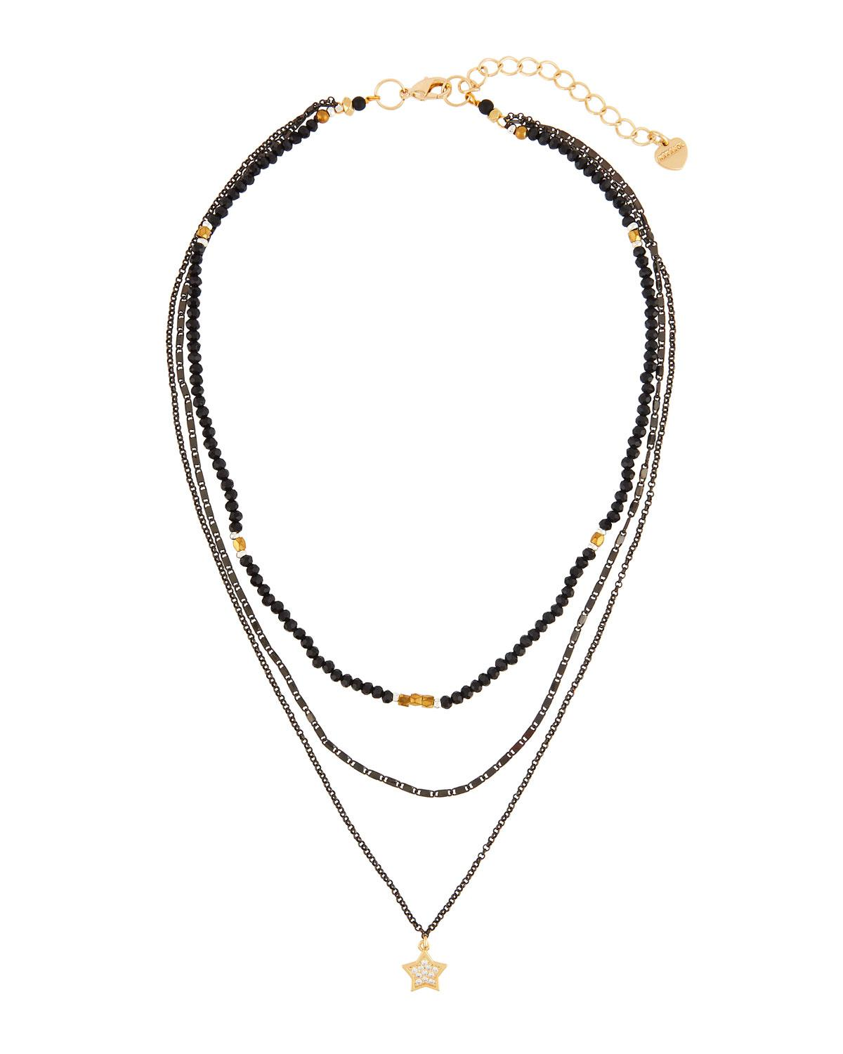 Nakamol Beaded Four-Layer Rectangle Stone Necklace hGMQVl