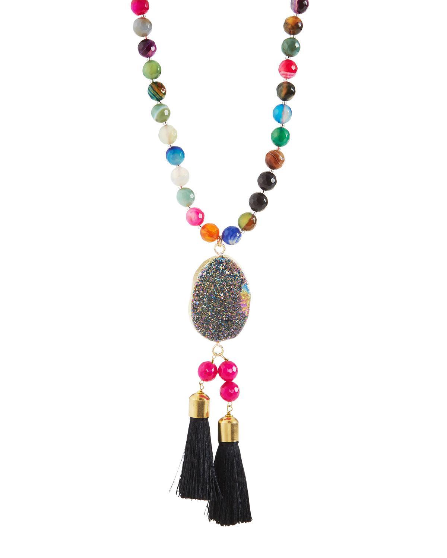 Panacea Multi-Stone Druzy Tassel Pendant Necklace V2AqGh