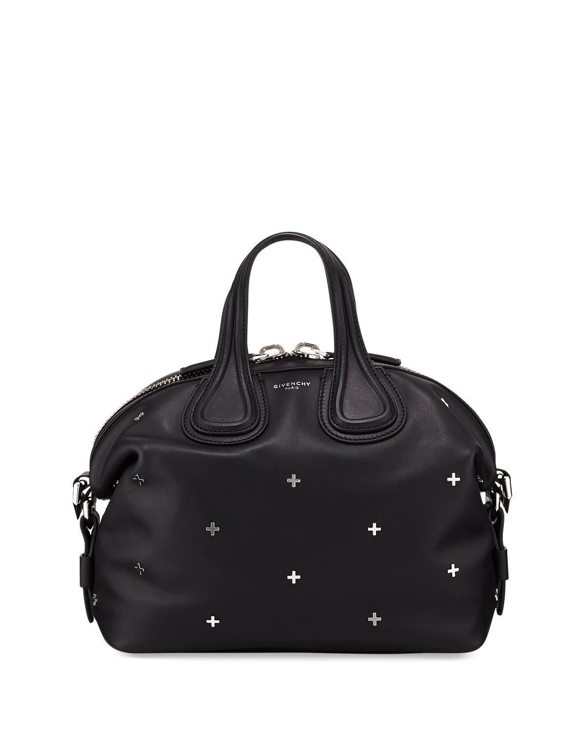 47558b7f5e1e Lyst - Givenchy Nightingale Small Studded Leather Satchel Bag in Black
