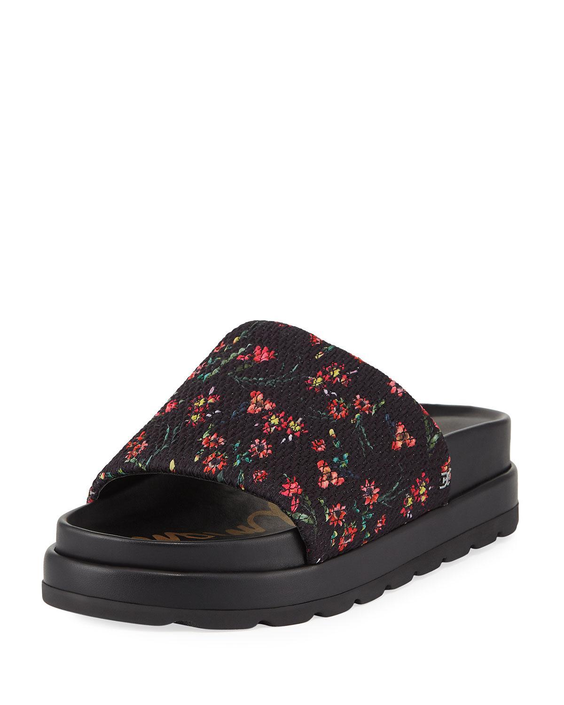 65cc68186d0e Lyst - Sam Edelman Shaye Smocked Flatform Slide Sandals in Black ...