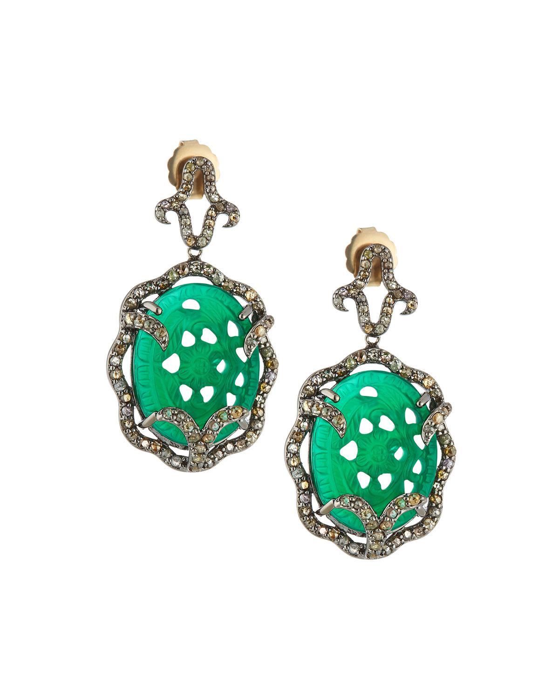 Bavna Open Chalcedony & Diamond Drop Earrings FTbpzl