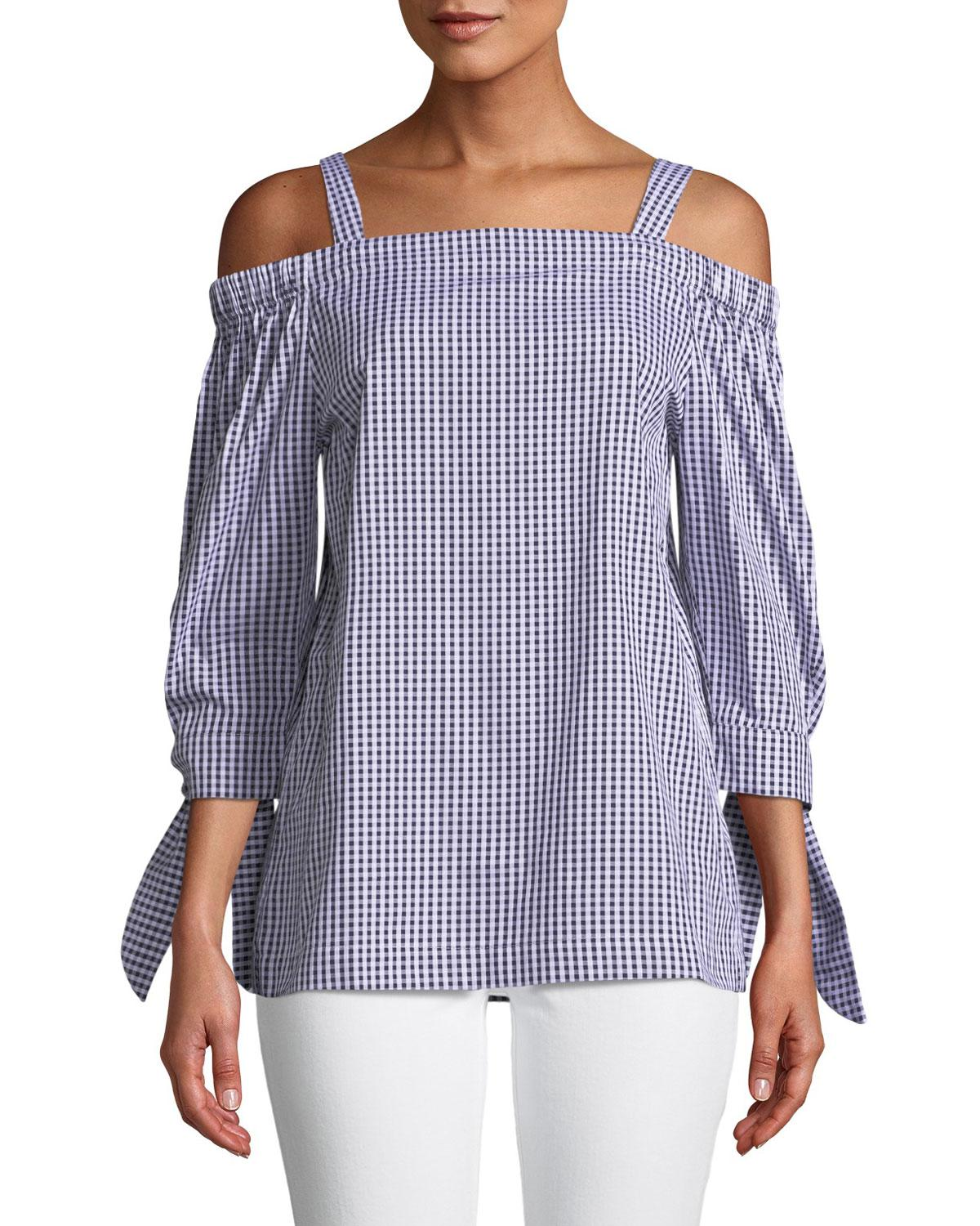 f78c93d1bf86ed Lyst - Neiman Marcus Cali Gingham Cold-shoulder Tie-sleeve Blouse in ...