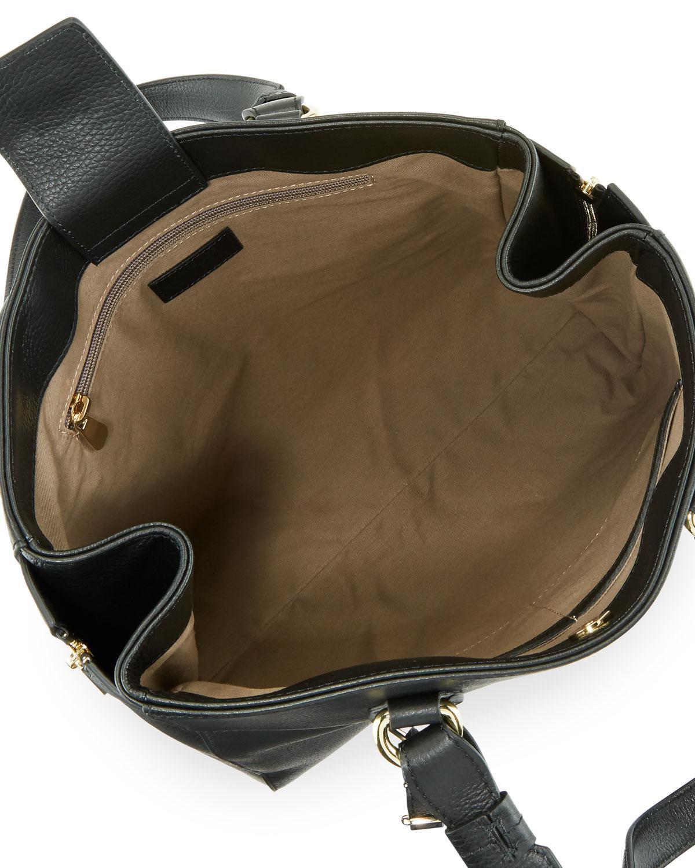 a653f12938b4 Lyst - Versace Pebbled Leather Satchel Bag Black in Black