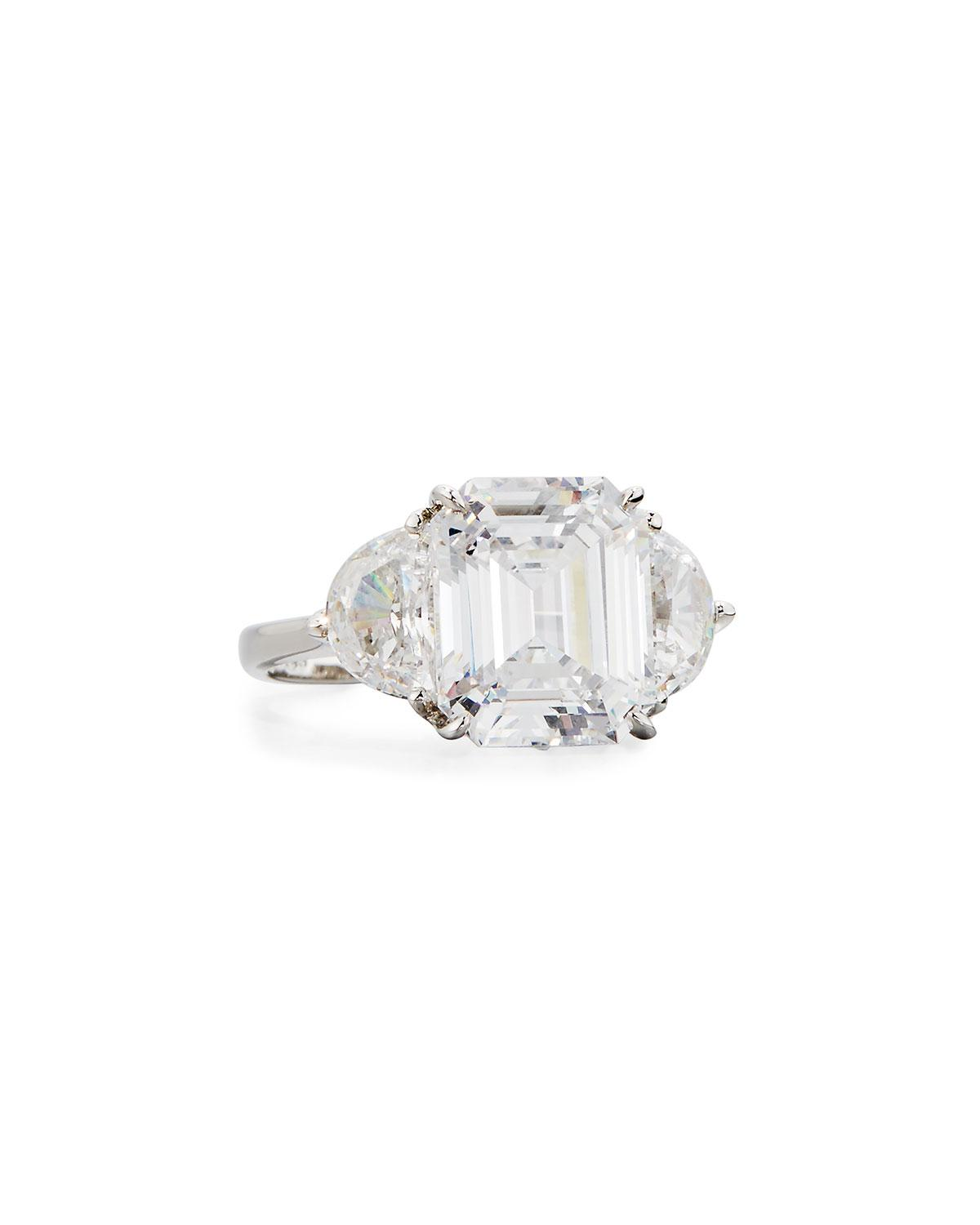 Fantasia Oval Cubic Zirconia Ring w/ Surrounding Crystals Rj9tO