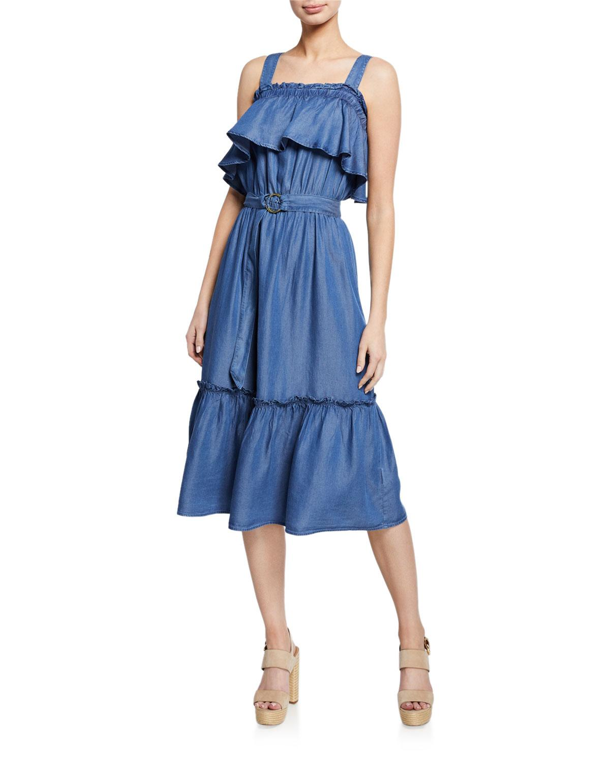 c58cede8f92 Lyst - MICHAEL Michael Kors Belted Midi Tank Ruffle Dress in Blue