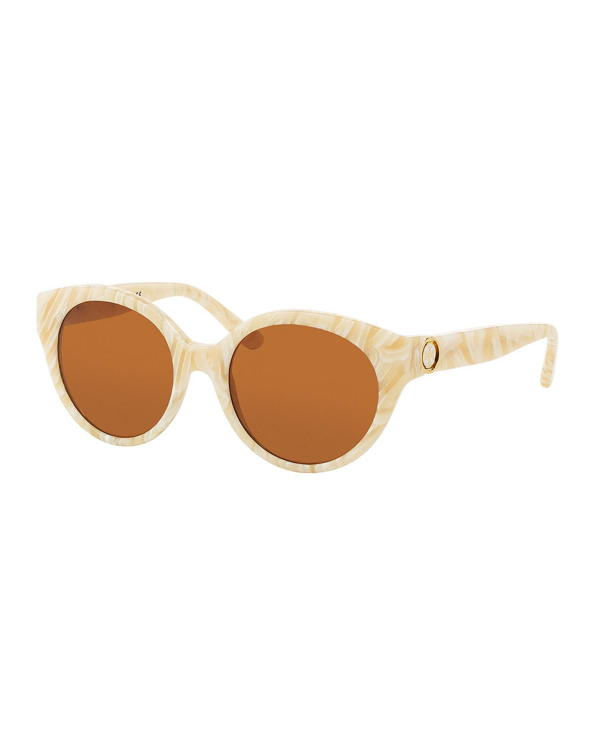 b912551a3d620 Lyst - Tory Burch Rounded Logo-temple Plastic Sunglasses in White