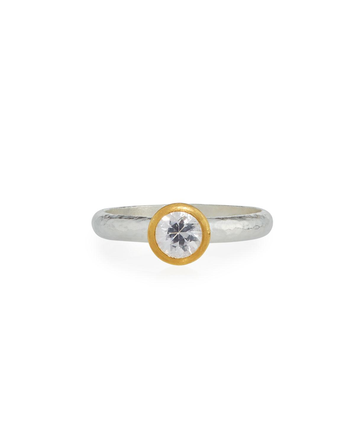 Gurhan Delicate Skittle Ring with Bezel-Set White Sapphire, Size 6