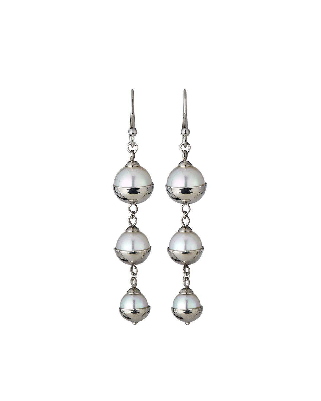 Majorica Graduated Triple-Pearl Dangle Earrings, Silver