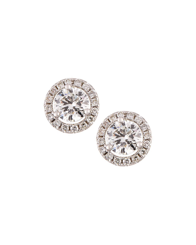 080e9d7fe8569 Neiman Marcus 18k White Gold Diamond Stud Earrings 2.40tcw in White ...