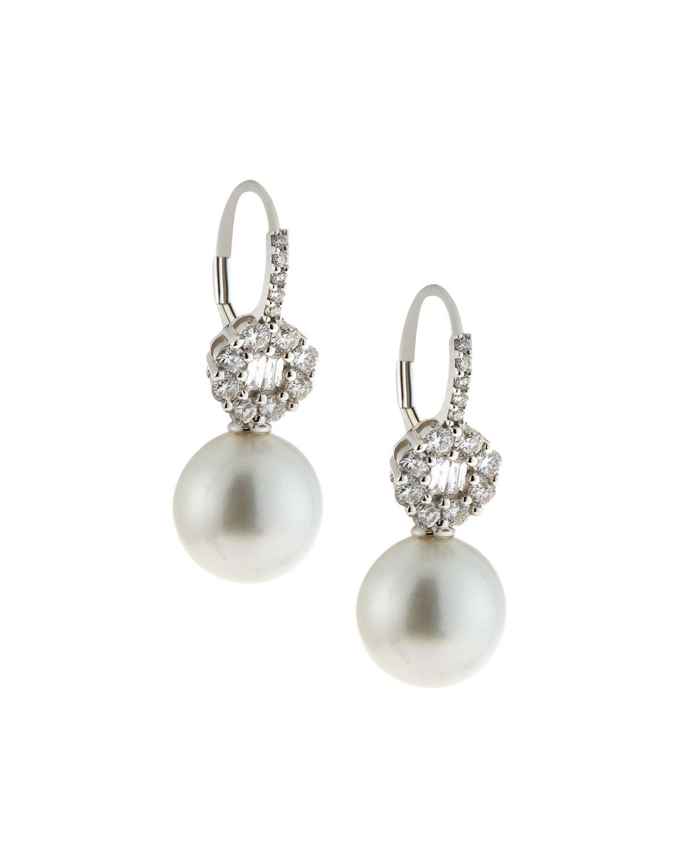 Belpearl 14k White South Sea Pearl & Diamond Drop Earrings, 10-11mm