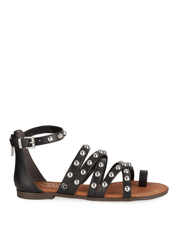 4f6036951 Lyst - Circus by Sam Edelman Carla Studded Flat Sandals in Black