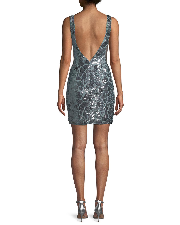 0079c3de3c4 Lyst - Jovani Leopard Sequin Open-back Mini Dress - Save 40%