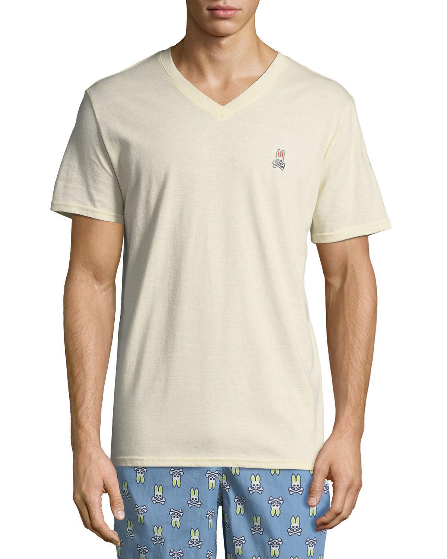 Psycho Bunny Men/'s Cotton Blend V-Neck Stone Heathered T-Shirt