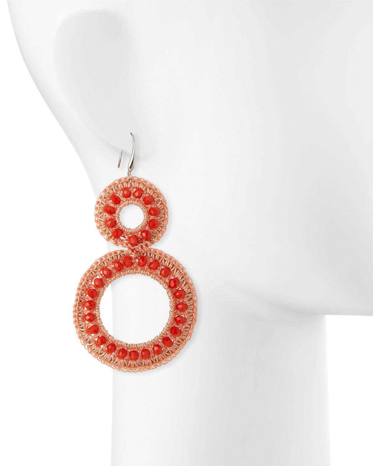 Panacea Crochet & Crystal Drop Earrings OA43y