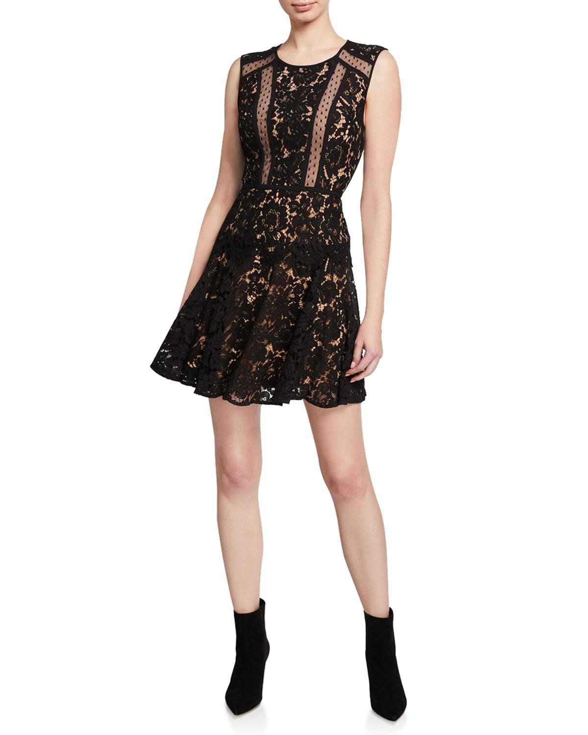 e2902b7844d Lyst - BCBGMAXAZRIA Fit- -flare Lace Mini Dress in Black