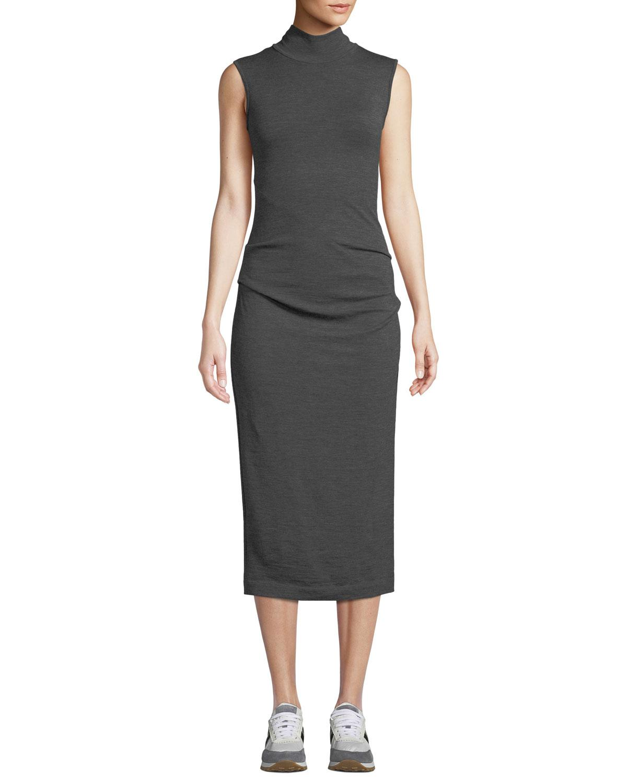 7e243bb226975 Brunello Cucinelli - Gray Ruched Sleeveless Turtleneck Midi Dress - Lyst.  View fullscreen